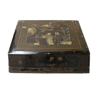 Vintage Chinese Square Wood Black Lacquer Box Display cs2588