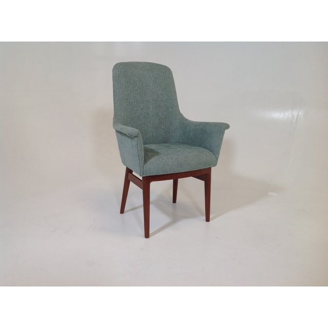 Mid century turquoise dining chair chairish - Turquoise upholstered dining chair ...