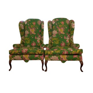 Queen Anne Style Wingback Chairs - A Pair