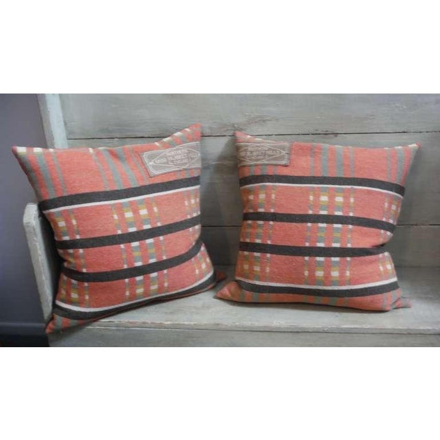 Pair of 19th Century Northern Ohio Blanket Mills Horse Blanket Pillows - Image 2 of 5