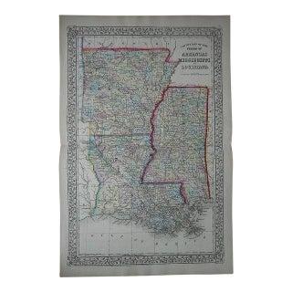 Antique Map of Arkansas, Mississippi, Louisiana