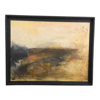 C 1968 Mid-Century Abstract Landscape Oil on Board Painting