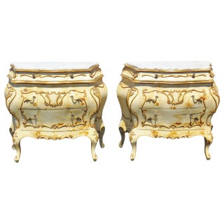 French Style Paint Decorated Marbletop Bombe Commodes - A Pair