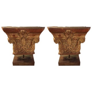 Antique Architectural Stone Building Tiles Mounted on Stands - A Pair