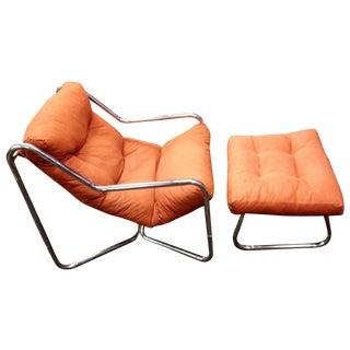 Italian Tubular Sling Chair & Ottoman Set