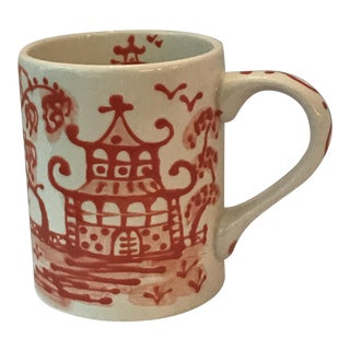 Orange Porcelain Chinoiserie Mug
