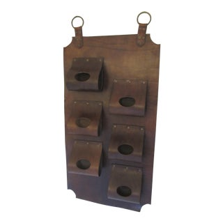 Mid-Century Hanging Leather Wine Rack