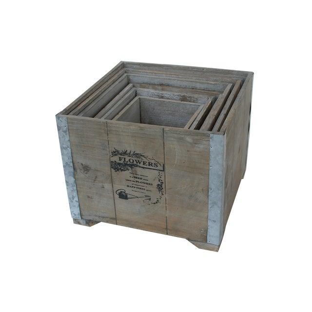 Wooden Country Square Planter - Set of 6 - Image 4 of 4