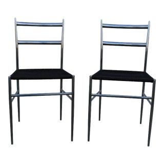 """Gio Ponti"" Style Chrome Plated Steel Chairs - A Pair"