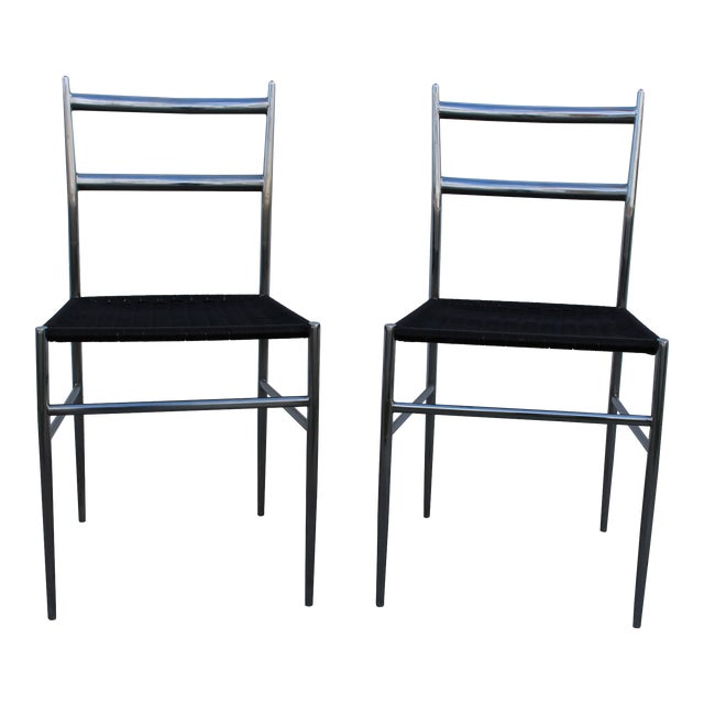 """""""Gio Ponti"""" Style Chrome Plated Steel Chairs - A Pair - Image 1 of 4"""