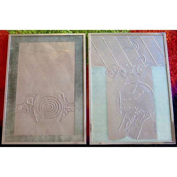 Mid-Century Abstract Foil Art - A Pair - Image 2 of 6