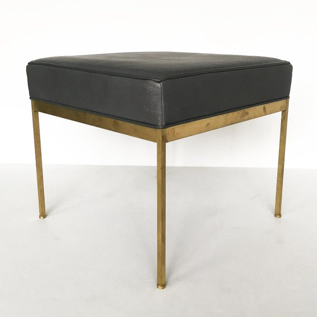 Lawson-Fenning Square Brass and Black Leather Ottomans - a Pair - Image 6 of 8
