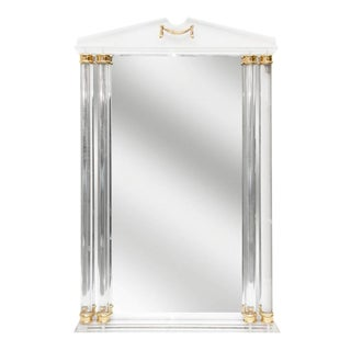 Neoclassical Style Lucite and Brass Mirror