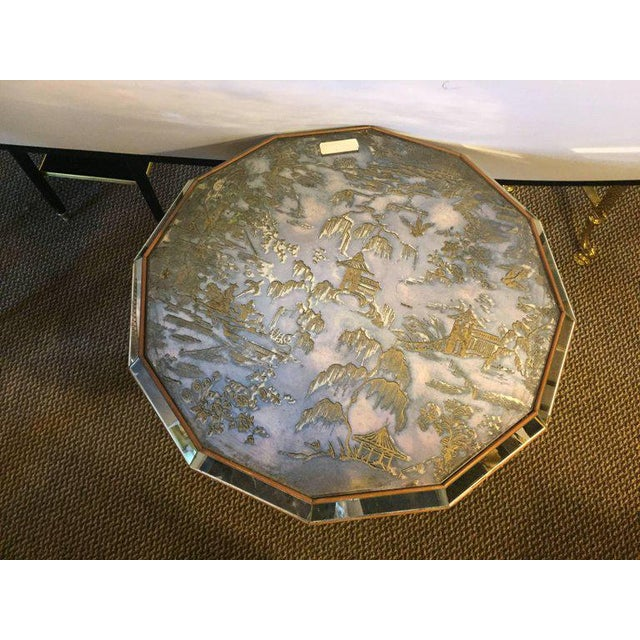 Chinoiserie Style Center Table with Eglomise Glass Top on a Single Pedestal - Image 3 of 10