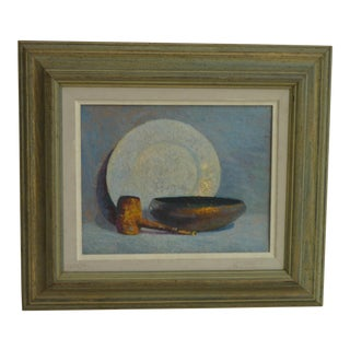 Oil Painting of Pipe & Bowl In Vintage Wooden Frame