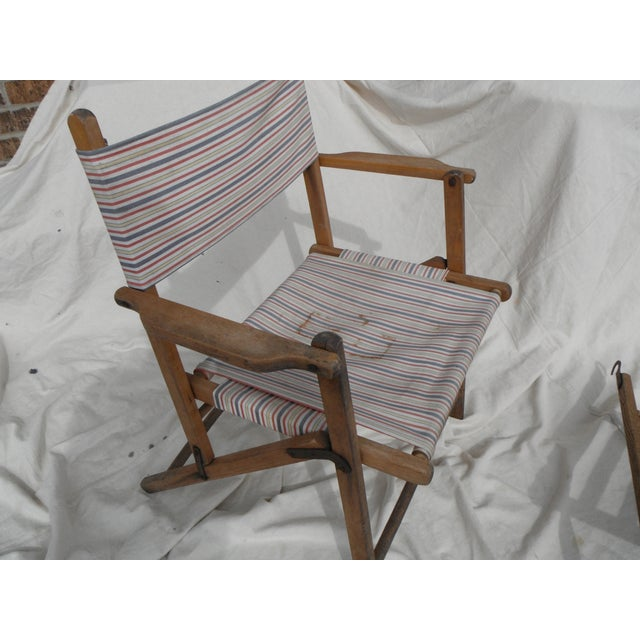Antique Canvas Steamer Chair & Footrest - Image 6 of 8