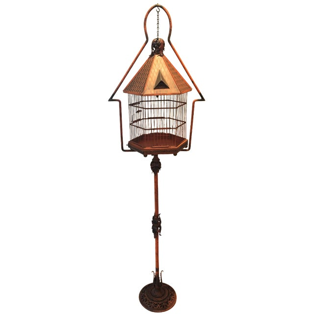 Antique 1920s Pnf Birdcage & Decorative Stand - Image 1 of 9