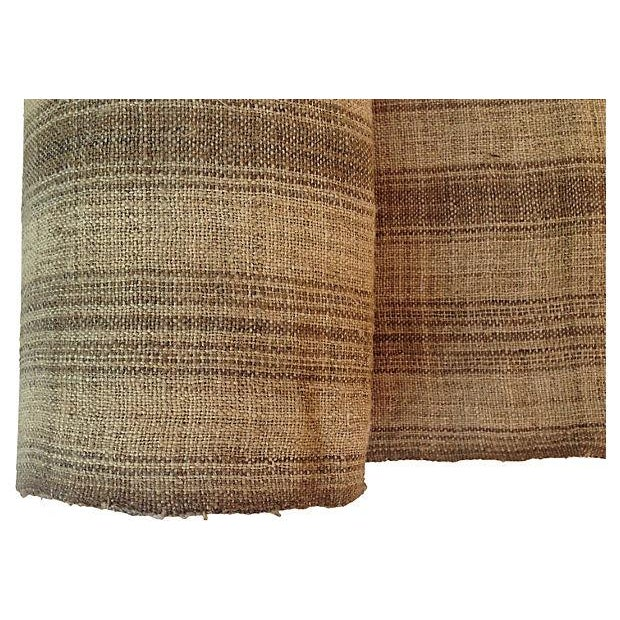 Image of Handwoven Striped Linen Fabric - 8.5 Yds