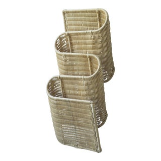 Vintage Wicker Biomorphic Wall Magazine Rack