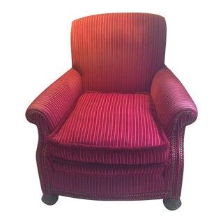 Striped Velvet Upholstered Armchair