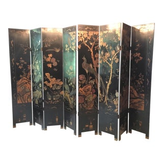 Vintage Black & Gold Painted Folding Screen