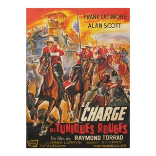 1964 Vintage Movie Poster, Charge des Tuniques Rouges/Cavalry Charge