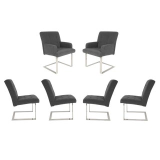 SET OF 6 CANTILEVERED DINING CHAIRS BY PAUL EVANS FOR DIRECTIONAL