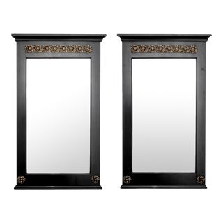 Pair Empire Style Ebonized Mirrors With Brass Mounts