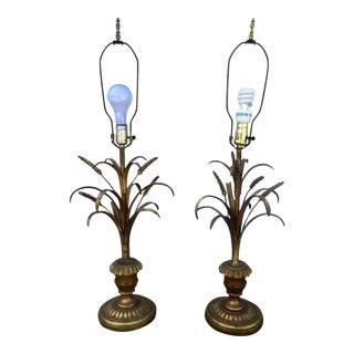 Hollywood Regency Chanel Style Gold Gilt Lamps - A Pair