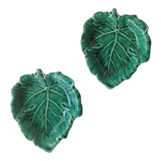Petite Majolica for Wedgwood Leaf Shaped Dishes - a Pair