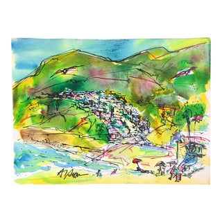 """Malibu"" Al Setton Watercolor Painting on Paper"