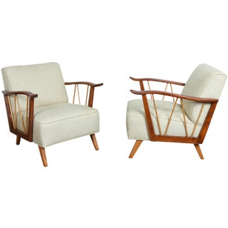 Vintage White Club Chairs - A Pair