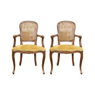French Style Velvet Armchairs - A Pair