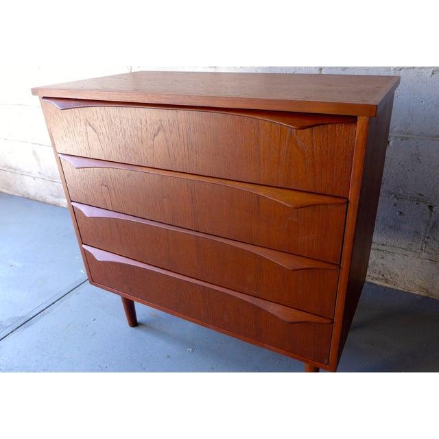 Image of Mid-Century Modern Teak 4 Drawer Dresser
