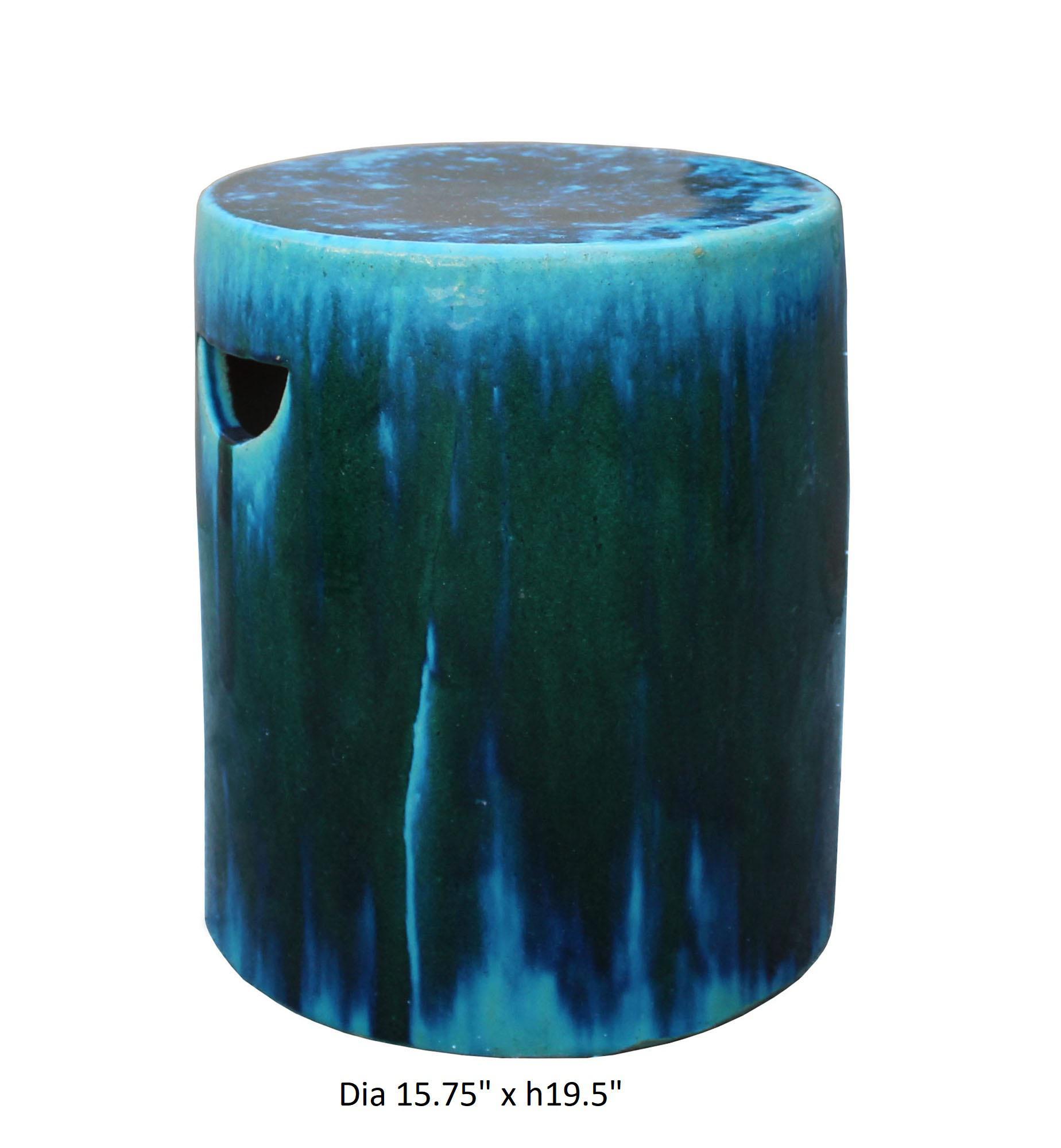 Chinese Ceramic Clay Green Turquoise Glaze Round Flat Column Garden Stool    Image 5 Of 5