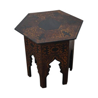 Antique Arts & Crafts Pyrographic Hexagon Side Table