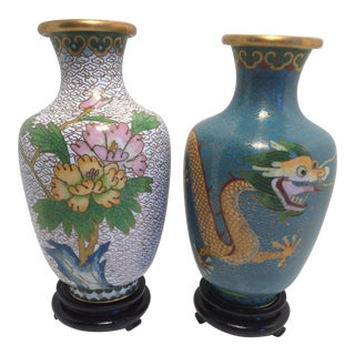 Pair of Chinese Cloisonné Vases And Bases with Dragon Design