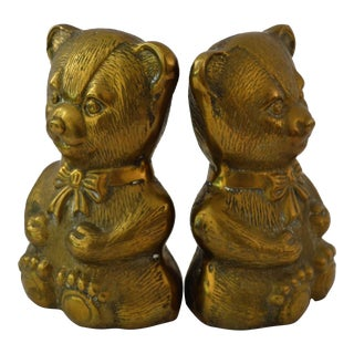 Brass Teddy Bear Bookends - A Pair