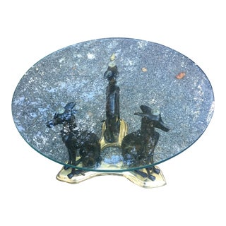 Vintage Maitland Smith Bronze Whippet Coffee Table