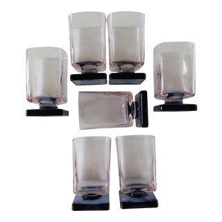80's Navy & Light Coral Square Pedestal Glasses - Set of 7