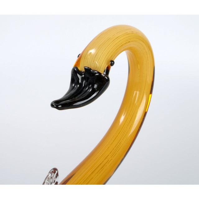 Murano Glass Amber & Yellow Swan - Image 7 of 10
