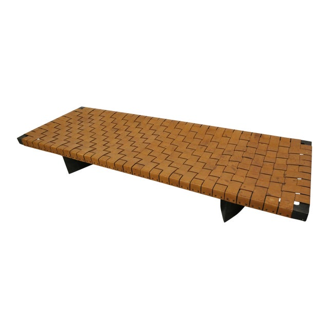 Image of Industrial Woven Leather and Steel Bench Table