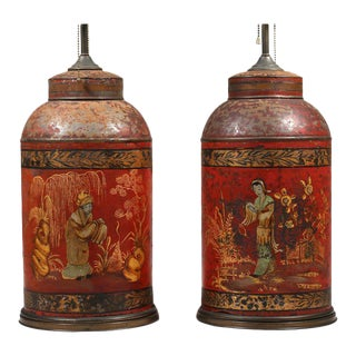 Pair Red Tea Canisters - now mounted as lamps