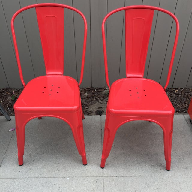 Red Tolix Style Metal Dining Chairs - A Pair - Image 2 of 4