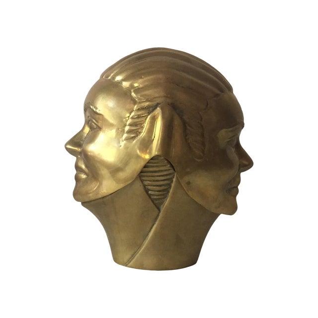 2 Faced Lidded Brass Figure - Image 1 of 11