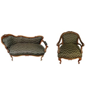 French Louis XV Style Gilt Settee & Chair