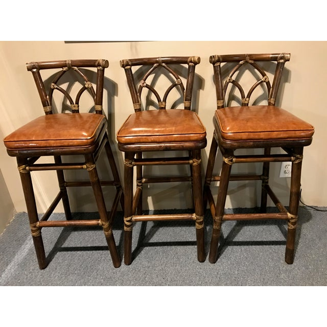 McGuire Leather Wrapped Rattan Bar Stools - Set of 3 - Image 2 of 11