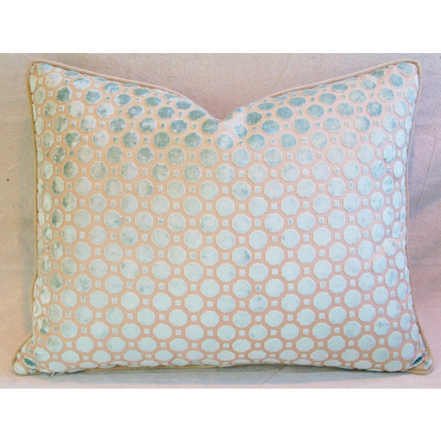 Aqua Blue Velvet Geometric Feather Down Pillow - Image 5 of 7