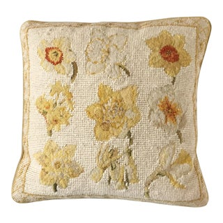 Needlepoint Daffodil Floral Pillow by Chelsea Textiles