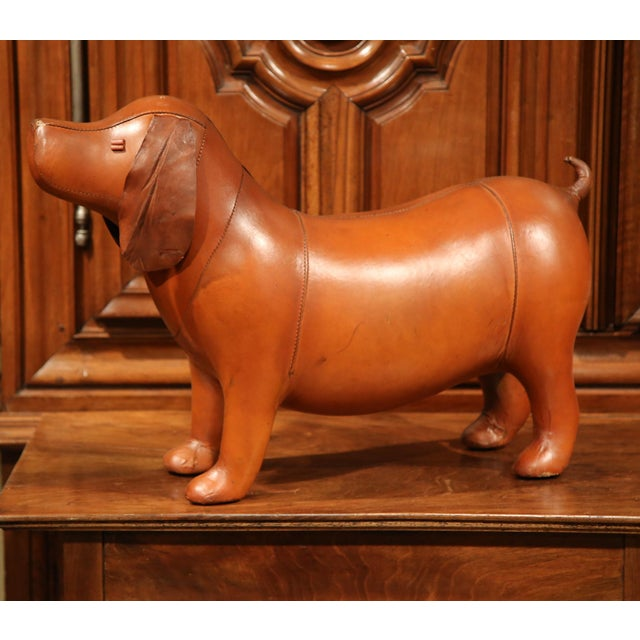 Large French Brown Leather Dog Footstool - Image 9 of 9